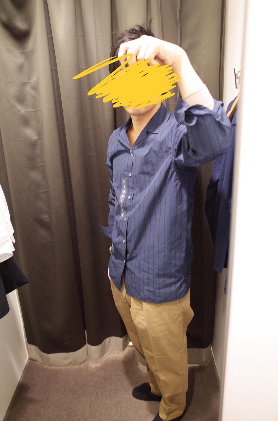 ストライプオープンカラーシャツ(長袖)+E写真③