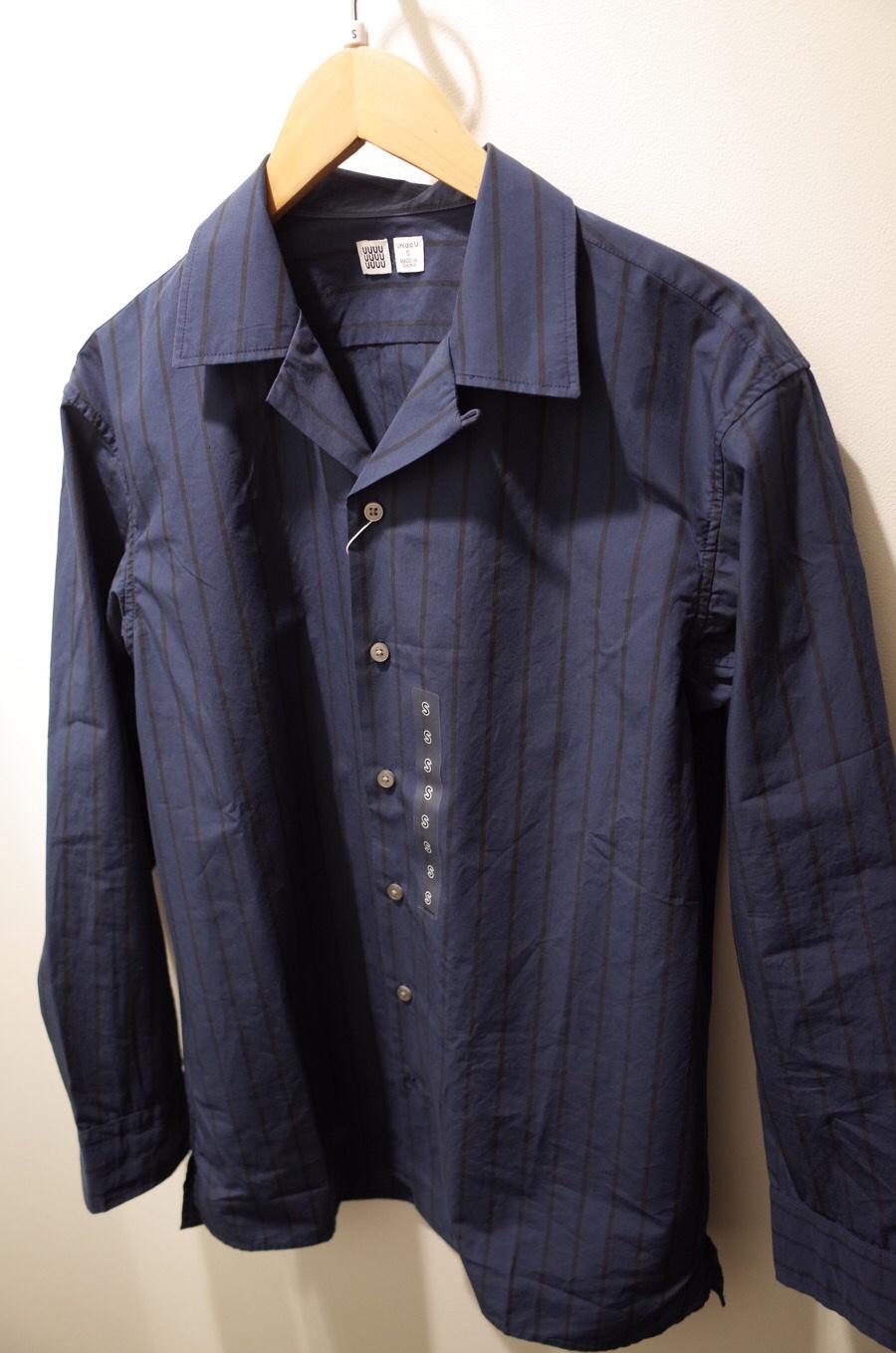 ストライプオープンカラーシャツ(長袖)+E写真①