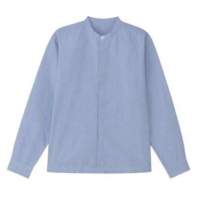 綿オックスフォード比翼スタンドカラーシャツ